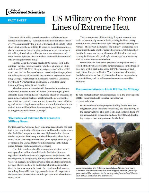 Portada de ficha informativa La militar estadounidense en la primera linea del calor extremo